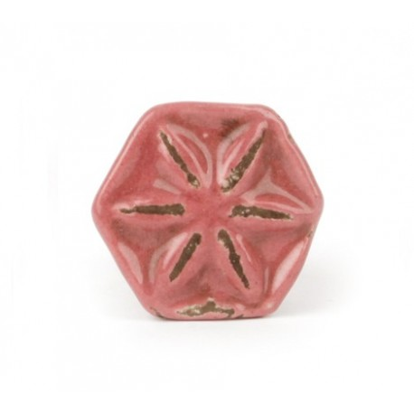 Keramikknauf in Blütenform im Shabby Chic look in sherry
