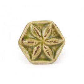 Keramikknauf in Blütenform im Shabby Chic look in grün