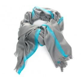 Schal Uni Antrazit Streifen Türkis