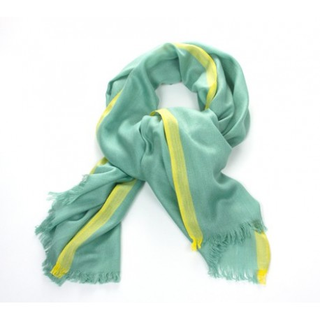 Schal Uni Grün Streifen Gelb