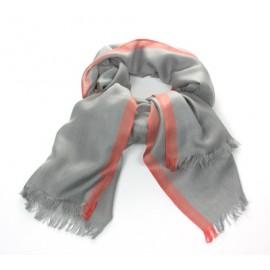 Schal Uni Antrazit Streifen Rot