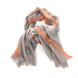 Schal Uni Beige Streifen Orange