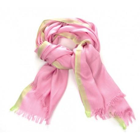 Schal Uni rosa Streifen Gelb