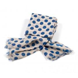 Modetuch in beige mit großen blauen Polka dots