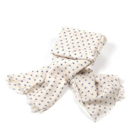 Sommertuch für Damen in cremefarben mit graublauen Sternchen