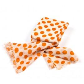 Beiges Damentuch mit orangefarbigen Polka Dots