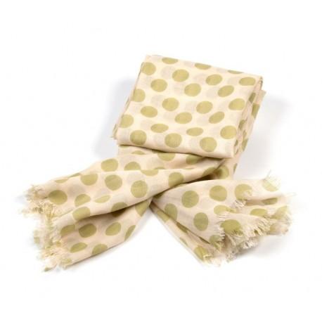 Modetuch in beige mit großen grünen Polka Dots