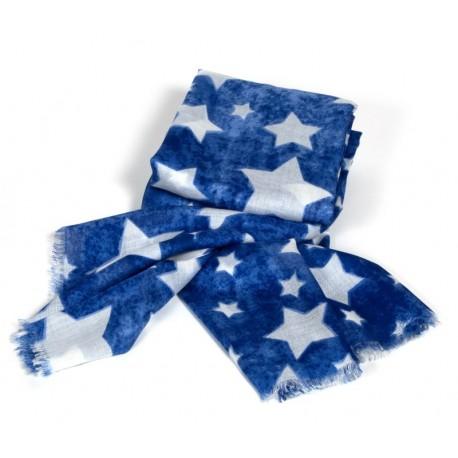 Blaues Damenhalstuch im Vintage wash mit weißen Sternen