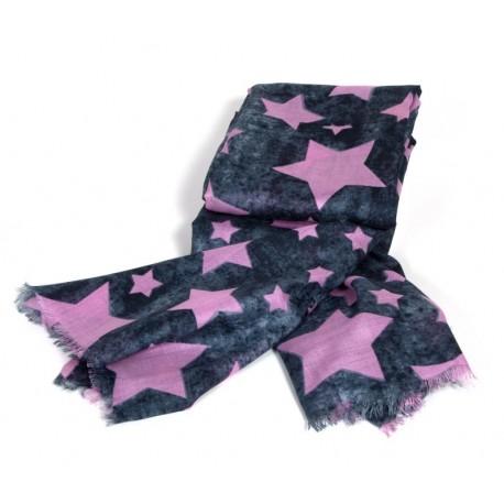 Graues Modetuch für Damen im Vintage wash look mit rosa Stenmuster