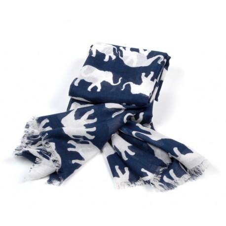Schal Blau Elefant Weiß