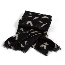 Großes schwarzes Halstuch mit Vogelmuster