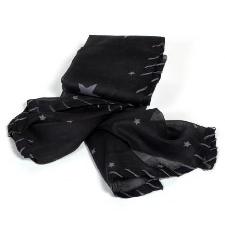 Leichtes Baumwolltuch in schwarz mit grauen Sternen