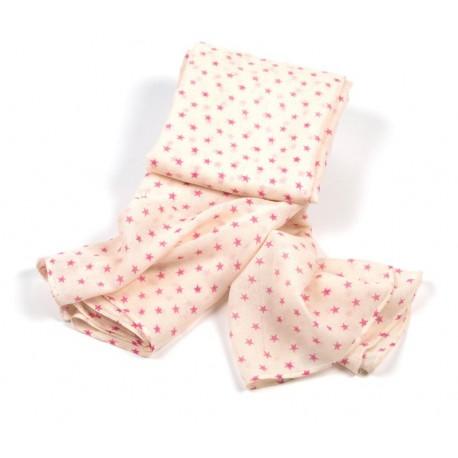 Leichtes Damentuch in beige mit rosa Sternchen
