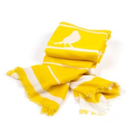 Schal Streifen Vogel Gelb