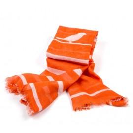 Orangefarbiges Damentuch mit Vogel- und Streifenmuster