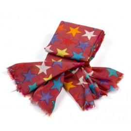 Damenschal in rostrot mit verschiedenfarbigen Sternen
