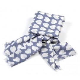 Damentuch in graublau mit Herzmuster