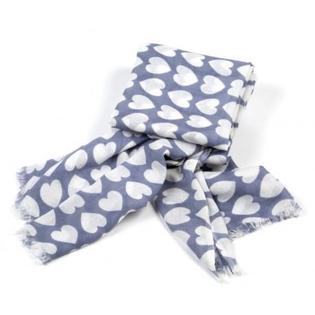 Schal Herzen Graublau