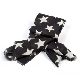 Schwarzes Damenhalstuch mit Sternen in beige
