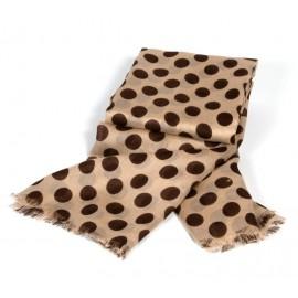 Caramelfarbiges Sommertuch mit braunem Polka Dot Muster