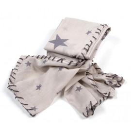 Helles beigegraues Halstuch mit grauen Sternen und Handstickerei