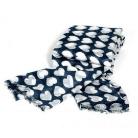 Sommertuch für Damen in navyblau mit weißen Herzen