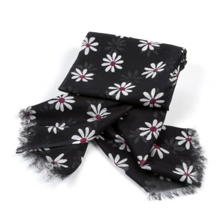 Tuch schwarz Blumen weiß / rot