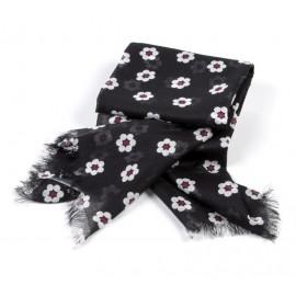 Tuch schwarz Kleine Blumen weiß / rot