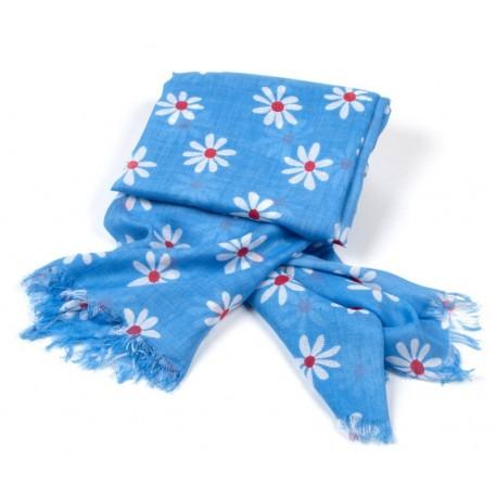 Tuch blau Blumen weiß / rot
