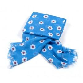 Tuch blau Kleine Blumen weiß / rot
