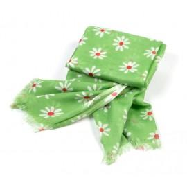 Tuch grün Blumen weiß / rot