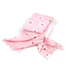 Weiches Sommerhalstuch in hellem rosa mit Margeritenblüten