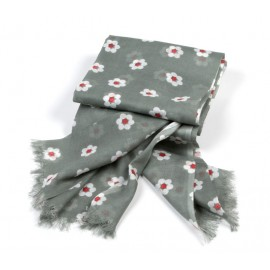 Tuch olivgrün Kleine Blumen weiß / rot