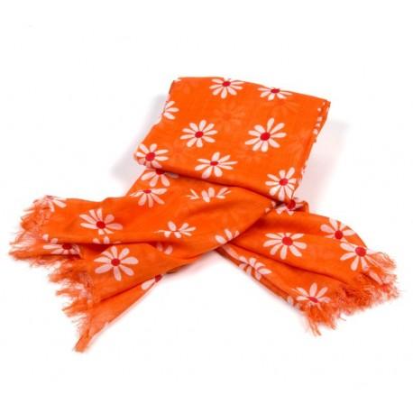 Tuch orange Blumen weiß / rot