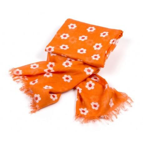 Tuch orange Kleine Blumen weiß / rot