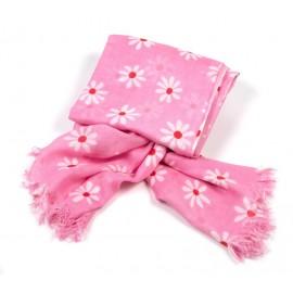 Tuch pink Blumen weiß / rot