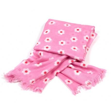 Tuch pink Kleine Blumen weiß / rot