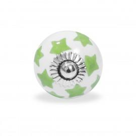 Möbelknauf in weiß mit grünen handbemalten Sternchen