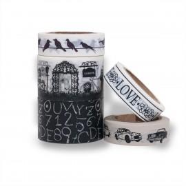 masking tape scrapbooking Reispapier LOVE schwarz