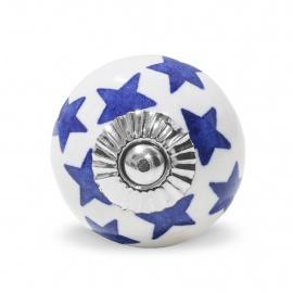 Großer weißer runder Möbelknauf mit handbemalten dunkelblauen Sternen