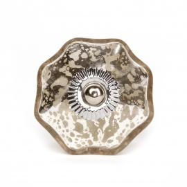 Möbelknauf aus Glas im Shabby Chic look in silber