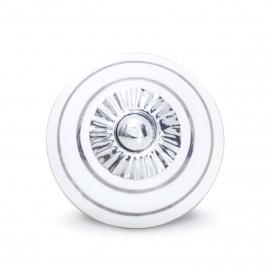 Knauf | weiß | Punkte | silber