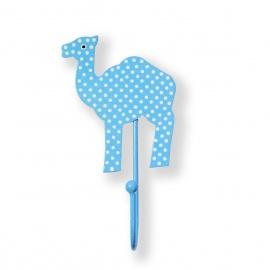 Kinderhaken Kamel in hellblau mit weißen Punkten