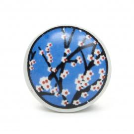 Flacher Möbelknauf in blau mit Kirschblütenmuster
