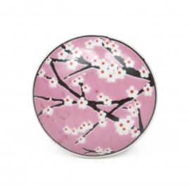 Fllacher rosa Möbelknauf mit Kirschblütenaufdruck