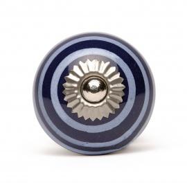 Kobaldblauer Möbelknauf mit weißblauen Streifen