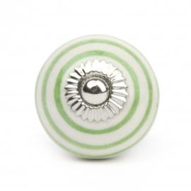 Großer runder Möbelknauf in weiß mit grünen Streifen