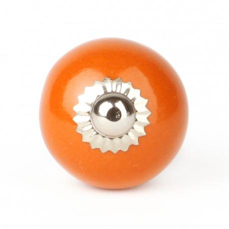 Großer einfarbiger oranger Möbelknauf in rund