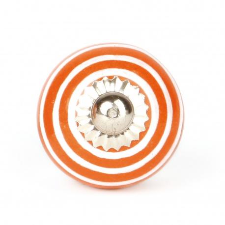 Keramikknauf in orange mit weißen Streifen