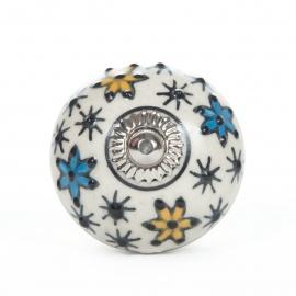 Möbelknauf mit handbemaltem orientalischen Sternblumen
